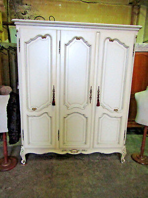 Vintage 3 door French white painted armoire,shelves,wardrobe,louis flat packs