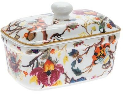 Leonardo Collection Bell Top Fine China Bright Floral Butter Dish Gift Boxed