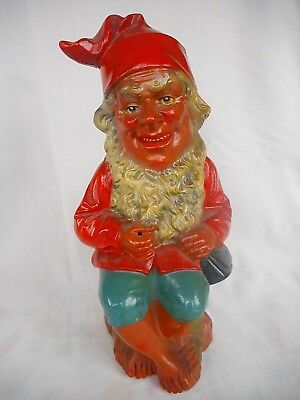 German Heissner Terracotta Gnome - The Fisher - Detailed Traditional Gnome Face