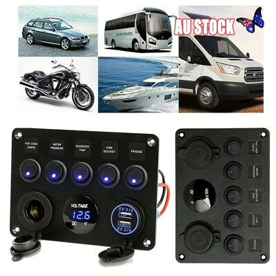 5 Gang ON-OFF Toggle Switch Panel 2USB for Car Boat Marine RV Truck Camper lk