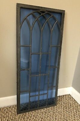 """Antique Triple Pane Blue Leaded Stained Glass Church Window 10.5"""" X 23.75"""""""