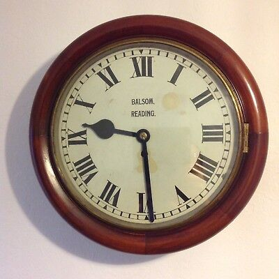 """Antique 15"""" School/Station/Company Fusee 8 Day Wall Clock"""