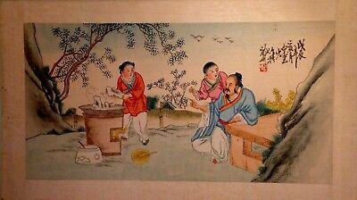 Old original Japanese watercolour on silk signed by artist with stamp