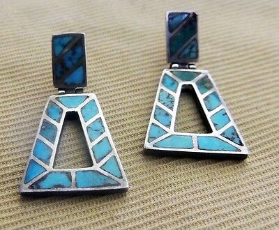 Amazing! Zuni Pueblo Keystone Turquoise Pierced Earrings Channel Inlay
