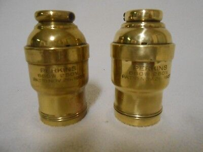 """ANTIQUE Perkins Match Pair INDUSTRIAL BRASS LAMP SOCKET LARGE 5/8"""" THREADED BASE"""