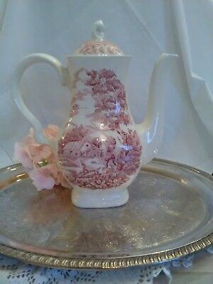 "Vintage Myott ''The Hunter"" Red Pink Transferware Coffee Pot Stafford England"