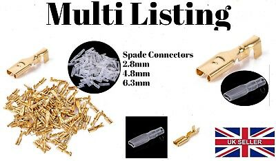 2.8mm 4.8mm 6.3mm Gold Crimp Terminals Female Spade Connectors Insulated Wire
