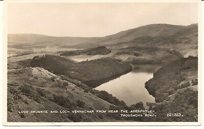 Postcard RPPC Scotland Stirlingshire Loch Drunkie & Loch Vennachar unposted 1957