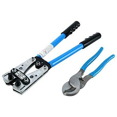 2 PCS Wire Crimper and Ratchet Terminal Crimp Pliers With 0- 70 mm² Wire Cutter