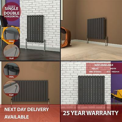 Radiator Designer Single Double Horizontal Central Heating Oval Flat Pipe Grey