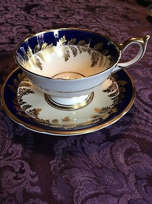 Vintage Tea Cup & Saucer Aynsley  Oak Leaf Cobalt Blue England Gilt Gold #8154