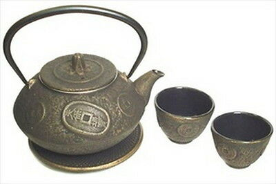 Japanese Cast Iron Tea Set Teapot Kettle Coin ts11-06go S-2082 AU