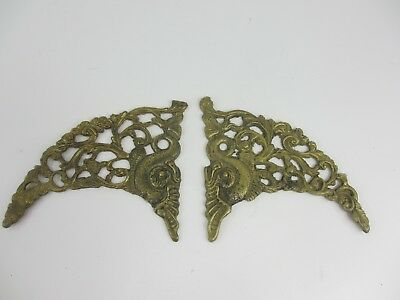 Vintage Brass Ormolu Hardware Top French Cherub Mount Old Antique Pair Koi Fish