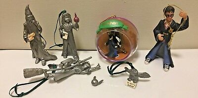 Lot of 7 Harry Potter Christmas Ornaments Pewter and Plastic