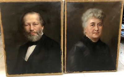 Pair Antique Oil Paintings Portraits Old Man and Woman  early 1900's late 1800's