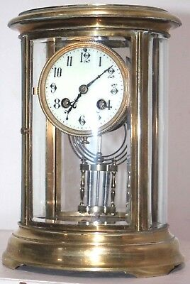 Antique French Oval Crystal Regulator Clock W/ Liquid Pendulum & Porcelain Face.