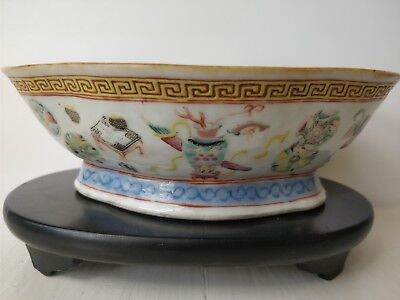 chinese porcelain footed bowl 19th c with mark Precious objects motive