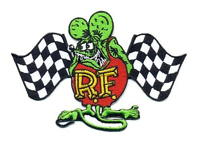 Rat Fink patch badge racing flags hot rod drag race iron on motorcycle