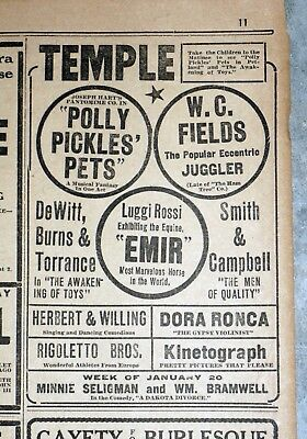 Early W.C. Fields Vaudeville Appearance Ad - 1908 Newspaper Page