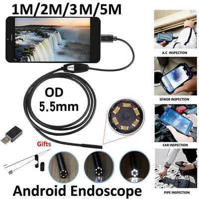 1/2/3/5M 6LED 5.5mm Android Endoscope Borescope USB Inspection Camera 9 OP