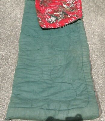 Vtg 1970s FLANNEL LINED SLEEPING BAG Water Fowl DUCKS Hunting  66 X 75