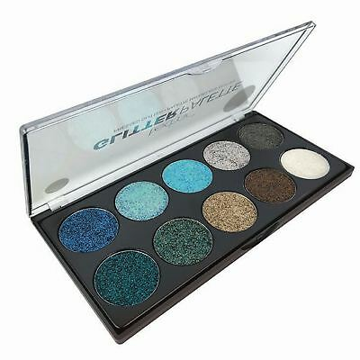 Technic Pressed Glitter Eyeshadow Palette Mermaid Blue Green Gold Silver Eye