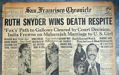 1928 San Francisco Newspaper Front Page - Ruth Snyder Granted Stay of Execution