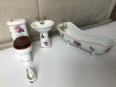 miniature furniture porcelain bathroom set 4 pieces for doll house beautiful