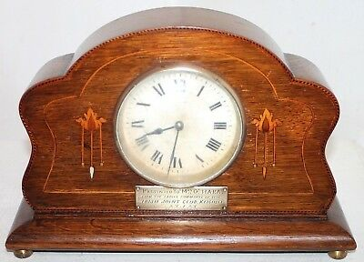 """Antique Inlaid French Japy Freres Clock, Gifted By The """"ladies Irish Joint Club"""""""