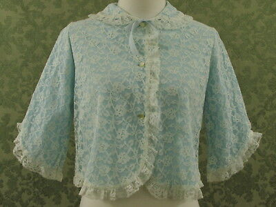 Vintage 60s Bed Jacket White Lace Overlay Blue Button Front 3/4 Sleeves Small