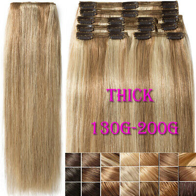 Thick Double Weft Clip In Real Remy Human Hair Extensions Full Head UK Sale M266