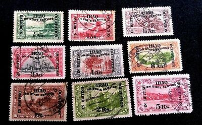 Iraq In British Occupation 1918 Official 9 Stamps