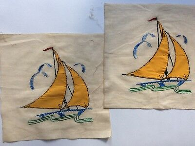 Vintage 2 Embroidered Pieces, Sailboat Motif