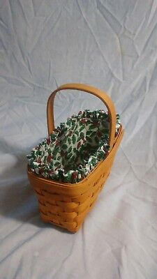 1999 Longaberger Candle Basket with Holly Liner Christmas Holly Accent