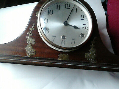 Mantle Clock with brass inlay