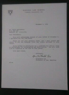 ARCHIBALD COX -2004 Watergate Hearings Signed LETTER + COVER 1994 LIFETIME COA .