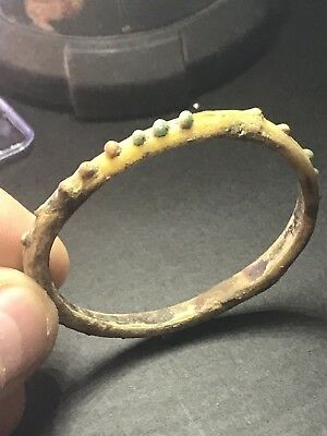 Large Ancient Roman Glass Bracelet With Beautiful Coloured Decorations.