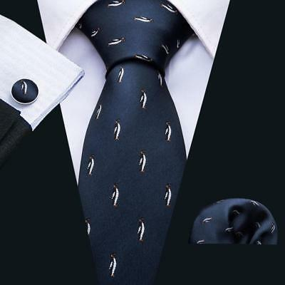 UK Men's Ties Necktie Silk Animal Penguin Jacquard Woven Navy Blue Wedding Tie