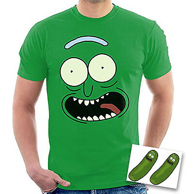 4bcd4299 Men's Green T Shirt Pickle Rick Face Rick and Morty TV Stickers Crossover UK