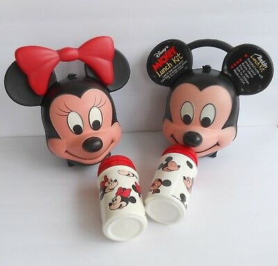 Vintage Mickey & Minnie Mouse Heads~ Aladdin Lunch Boxes&Thermoses~Walt Disney