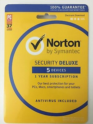Norton Security Deluxe - 5 Devices - 1 Year - PC / MAC / MOBILE 2018 2019 SEALED