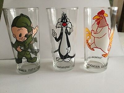1973 Pepsi Warner Bros. Glasses Collector Series, Elmer Fudd, Sylvester, Foghorn