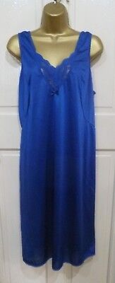 Vintage Made In England Beautiful Royal Blue Silky Nylon Full Slip Size 24-26