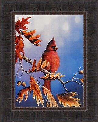 BIRD/'S EYE VIEW by Jim Hansel 17x21 Cardinal Lilacs Fence FRAMED PRINT PICTURE