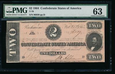 AC T-70 $2 1864 Confederate Currency CSA PMG 63 comment uncirculated!