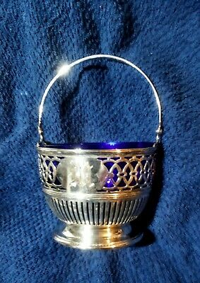 77.7 gram ANTIQUE STERLING SILVER SUGAR Basket BOWL W/COBALT BLUE GLASS LINER