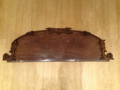 Antique Mahogany French Empire Carved Wood Headboard for Bed