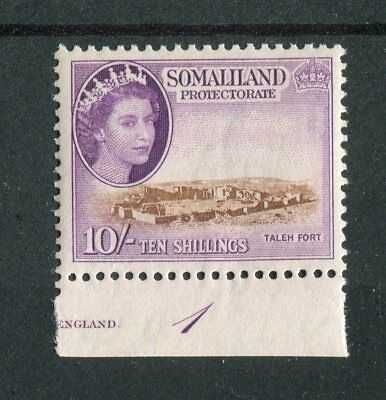 Somaliland Protectorate QEII 1953-58 10s brown & reddish-violet SG148 MNH plate1