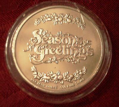 1 Troy oz SEASONS GREETINGS .999 Fine Silver Round Christmas Holiday Bells Holly