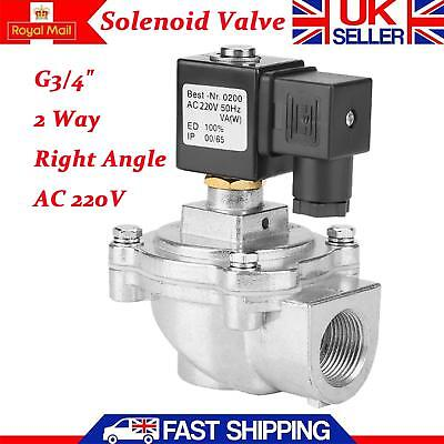 """G3/4"""" 2 Way Right Angle Solenoid Pulse Electric Solenoid Water Valve Magnetic UK"""